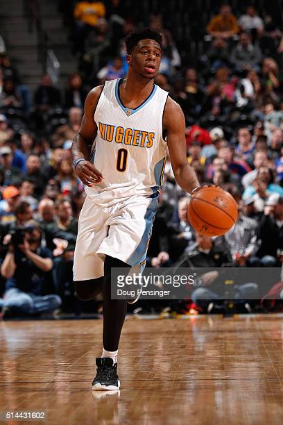 Emmanuel Mudiay of the Denver Nuggets controls the ball against the New York Knicks at Pepsi Center on March 8 2016 in Denver Colorado The Nuggets...