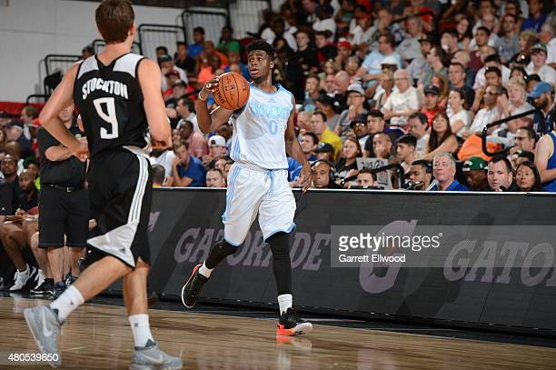 Emmanuel Mudiay of the Denver Nuggets dribbles the ball against the Sacramento Kings on July 12 2015 at the Cox Pavilion in Las Vegas Nevada NOTE TO...