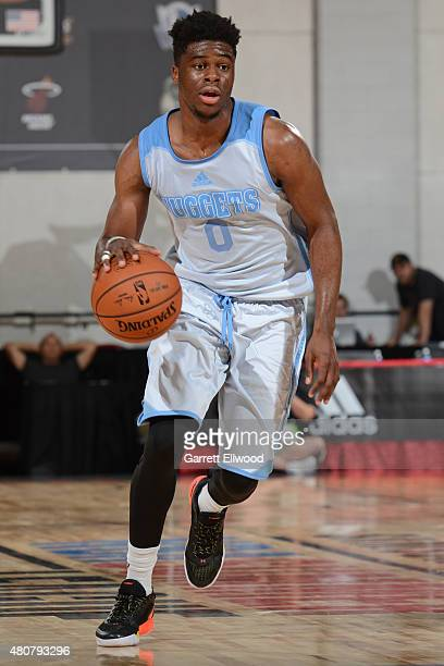 Emmanuel Mudiay of the Denver Nuggets drives against the Miami Heat on July 13 2015 at The Cox Pavilion in Las Vegas Nevada NOTE TO USER User...
