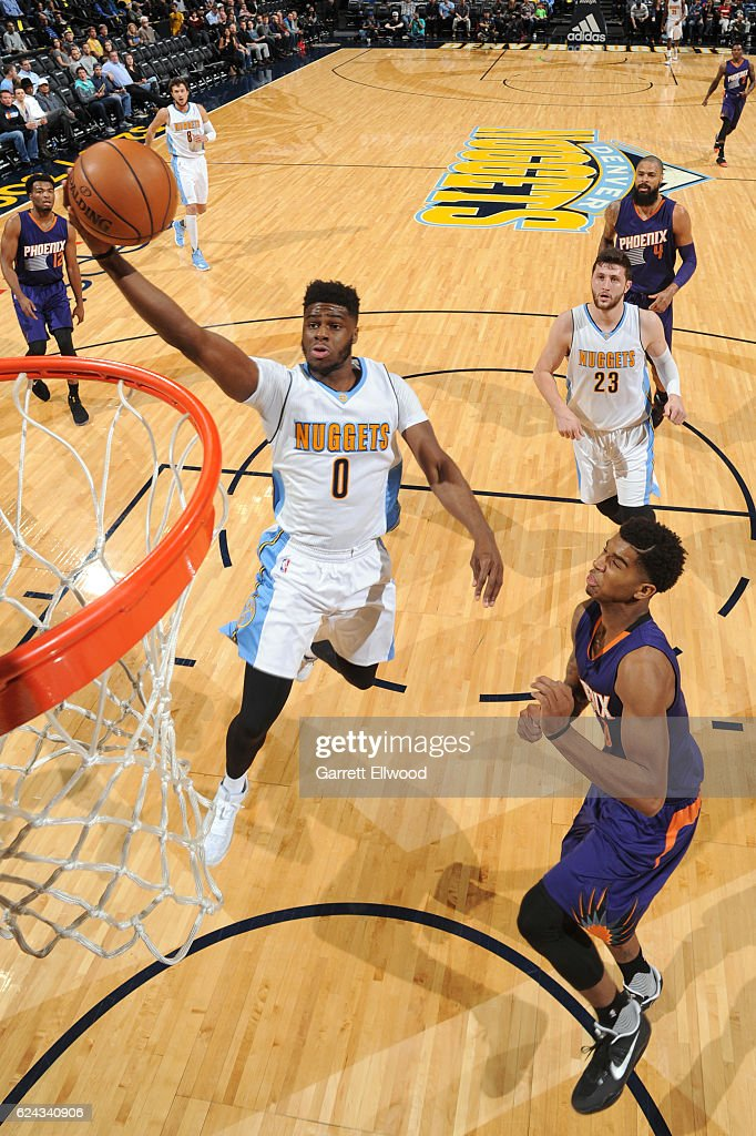 Emmanuel Mudiay #0 of the Denver Nuggets drives to the basket against the Phoenix Suns on November 16, 2016 at the Pepsi Center in Denver, Colorado.