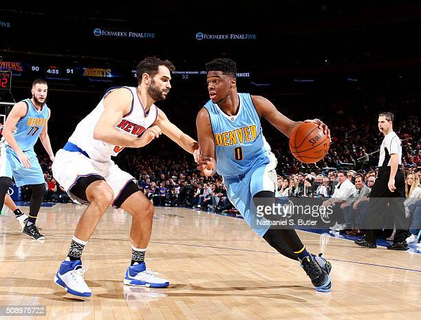 Emmanuel Mudiay of the Denver Nuggets drives to the basket during the game against the New York Knicks on February 7 2016 at Madison Square Garden in...