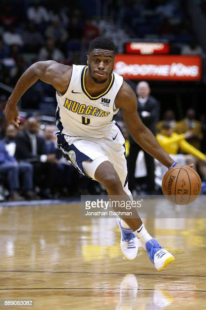 Emmanuel Mudiay of the Denver Nuggets drives with the ball during the second half of a game against the New Orleans Pelicans at the Smoothie King...