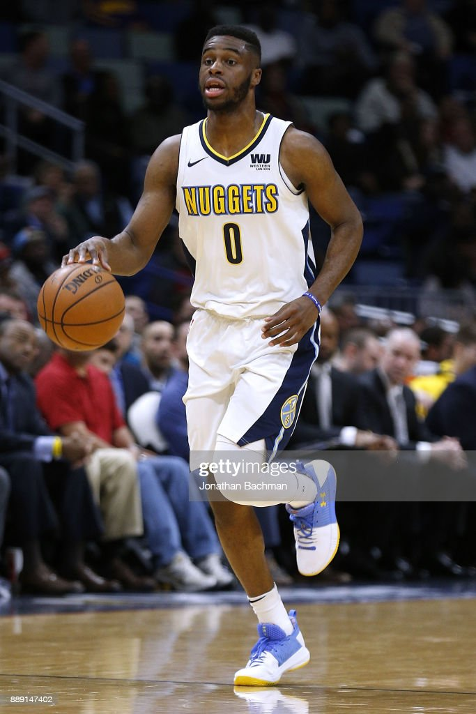 Emmanuel Mudiay #0 of the Denver Nuggets drives with the ball during the second half of a game against the New Orleans Pelicans at the Smoothie King Center on December 6, 2017 in New Orleans, Louisiana.