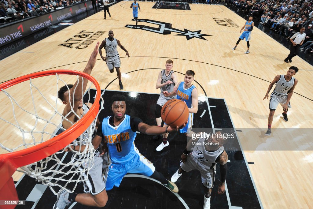 Emmanuel Mudiay #0 of the Denver Nuggets goes for the lay up during the game against the San Antonio Spurs on February 4, 2017 at the AT&T Center in San Antonio, Texas.