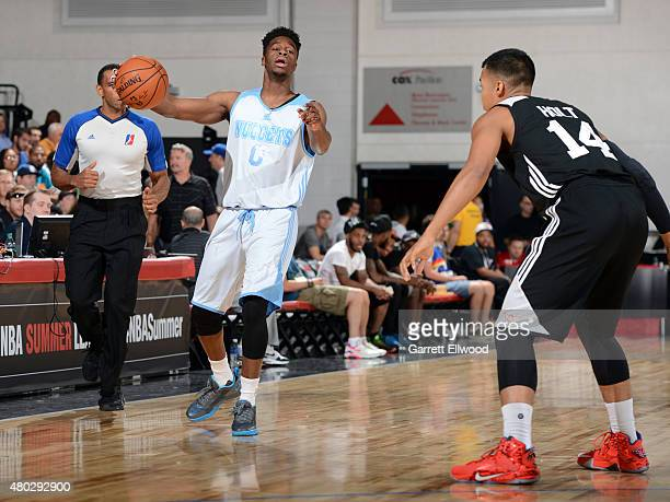 Emmanuel Mudiay of the Denver Nuggets handles the ball against the Atlanta Hawks on July 10 2015 at the Cox Pavilion in Las Vegas Nevada NOTE TO USER...