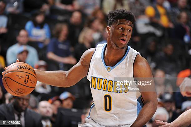 Emmanuel Mudiay of the Denver Nuggets handles the ball against the Dallas Mavericks on March 6 2016 at the Pepsi Center in Denver Colorado NOTE TO...