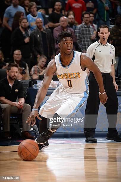 Emmanuel Mudiay of the Denver Nuggets handles the ball against the Phoenix Suns on March 10 2016 at the Pepsi Center in Denver Colorado NOTE TO USER...