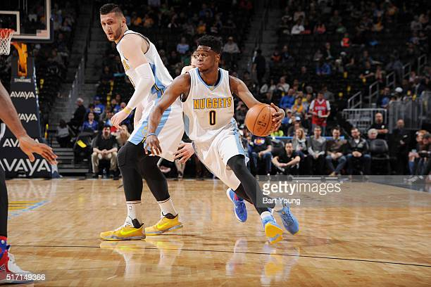 Emmanuel Mudiay of the Denver Nuggets handles the ball against the Philadelphia 76ers on March 23 2016 at the Pepsi Center in Denver Colorado NOTE TO...