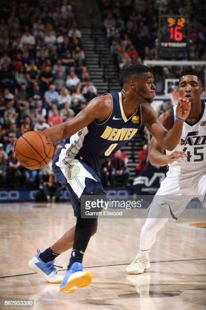 Emmanuel Mudiay of the Denver Nuggets handles the ball against the Utah Jazz during the game on October 18 2017 at vivintSmartHome Arena in Salt Lake...