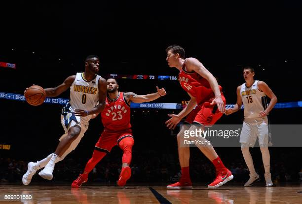 Emmanuel Mudiay of the Denver Nuggets handles the ball against the Toronto Raptors on November 1 2017 at the Pepsi Center in Denver Colorado NOTE TO...