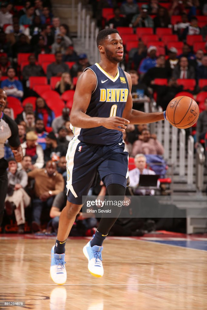 Emmanuel Mudiay #0 of the Denver Nuggets handles the ball against the Detroit Pistons on December 12, 2017 at Little Caesars Arena in Detroit, Michigan.