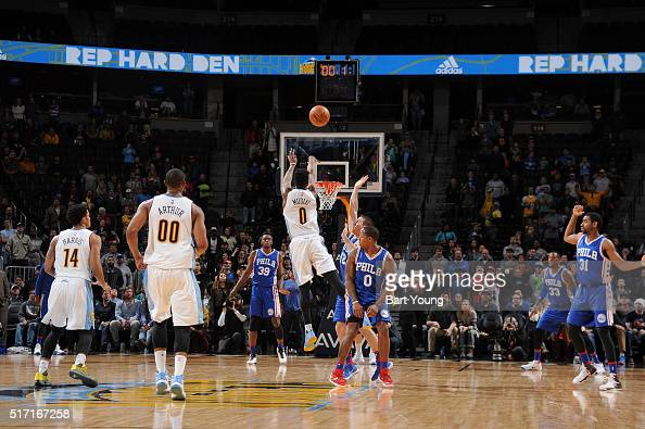 Emmanuel Mudiay of the Denver Nuggets hits the game winning three point shot against the Philadelphia 76ers on March 23 2016 at the Pepsi Center in...