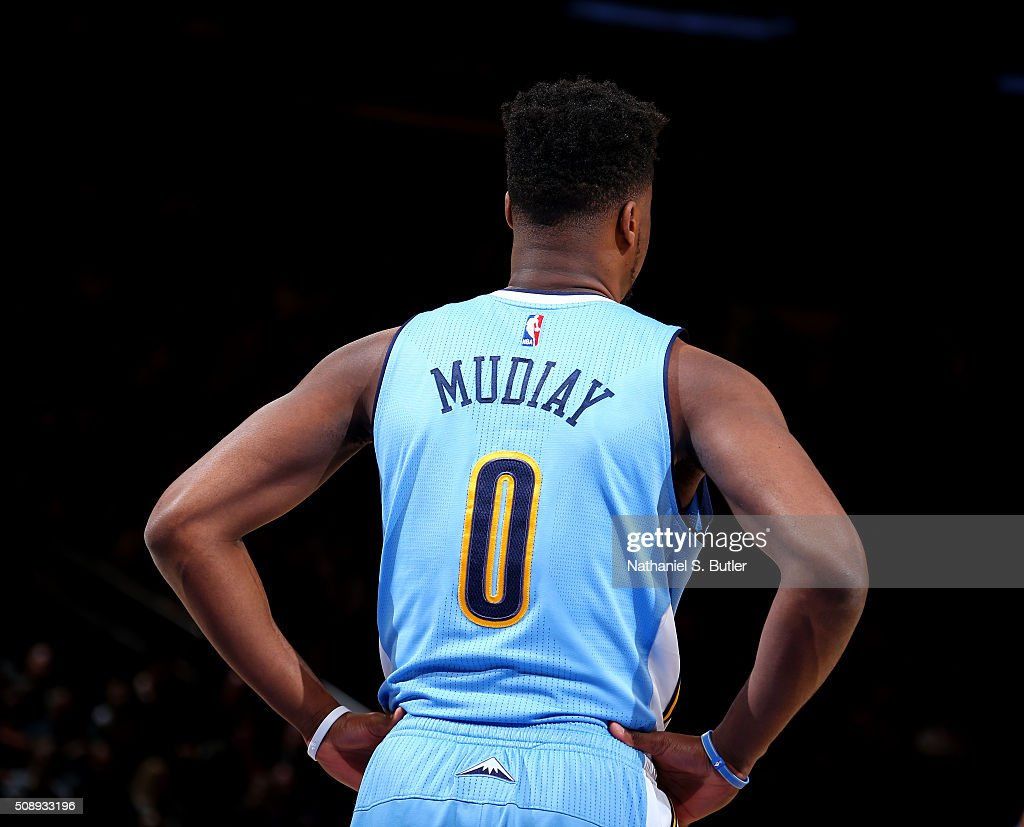 <a gi-track='captionPersonalityLinkClicked' href=/galleries/search?phrase=Emmanuel+Mudiay&family=editorial&specificpeople=9510824 ng-click='$event.stopPropagation()'>Emmanuel Mudiay</a> #0 of the Denver Nuggets looks on during the game against the New York Knicks on February 7, 2016 at Madison Square Garden in New York City, New York.