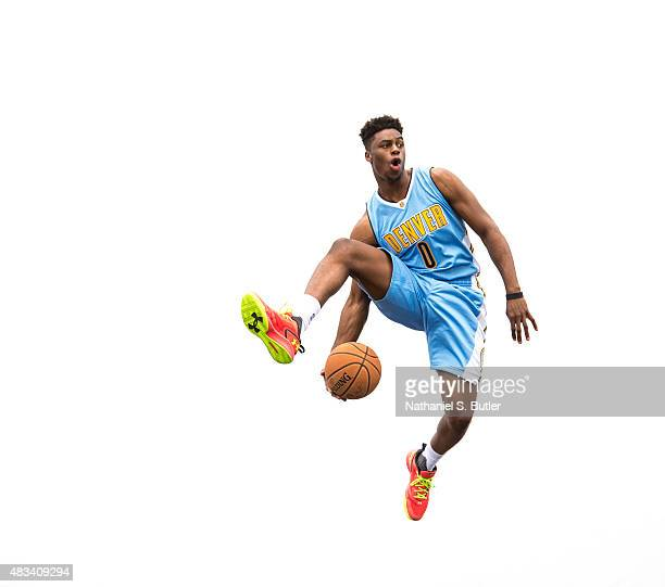 Emmanuel Mudiay of the Denver Nuggets poses for a photo during the 2015 NBA Rookie Shoot on August 8 2015 at the Madison Square Garden Training...