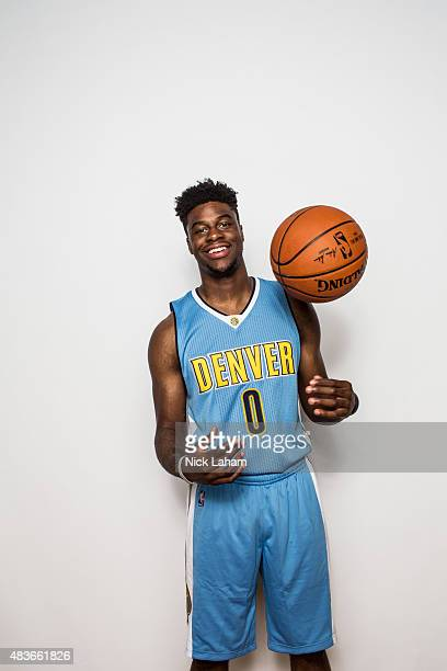 Emmanuel Mudiay of the Denver Nuggets poses for a portrait during the 2015 NBA rookie photo shoot on August 8 2015 at the Madison Square Garden...