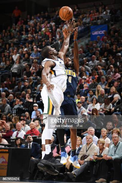 Emmanuel Mudiay of the Denver Nuggets shoots the ball against the Utah Jazz during the game on October 18 2017 at vivintSmartHome Arena in Salt Lake...