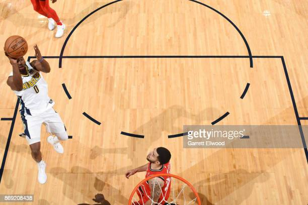 Emmanuel Mudiay of the Denver Nuggets shoots the ball against the Toronto Raptors on November 1 2017 at the Pepsi Center in Denver Colorado NOTE TO...