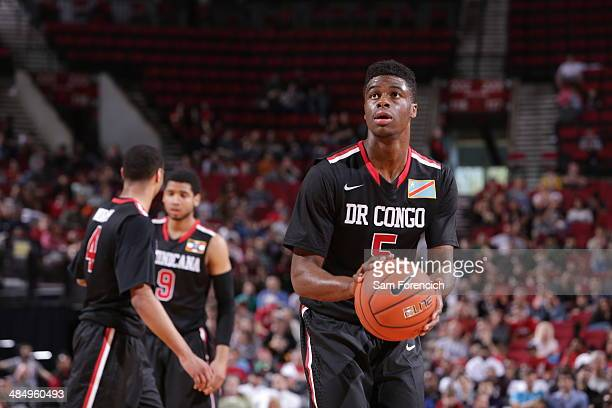 Emmanuel Mudiay of the World Team shoots the ball during the game against Team USA on April 12 2014 at the Moda Center Arena in Portland Oregon NOTE...