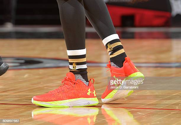 Emmanuel Mudiay of the World Team showcases his sneakers during the BBVA Compass Rising Stars Challenge as part of the 2016 NBA All Star Weekend on...