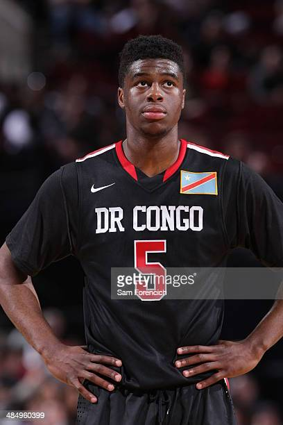 Emmanuel Mudiay of the World Team stands on the court during the game against Team USA on April 12 2014 at the Moda Center Arena in Portland Oregon...