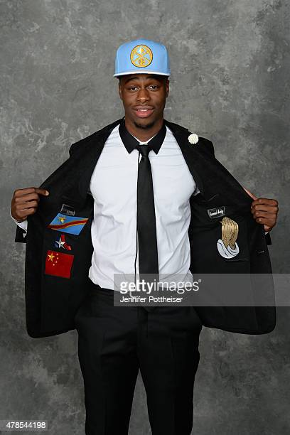 Emmanuel Mudiay poses for a portrait after being drafted number seven overall to the Denver Nuggets during the 2015 NBA Draft at the Barclays Center...