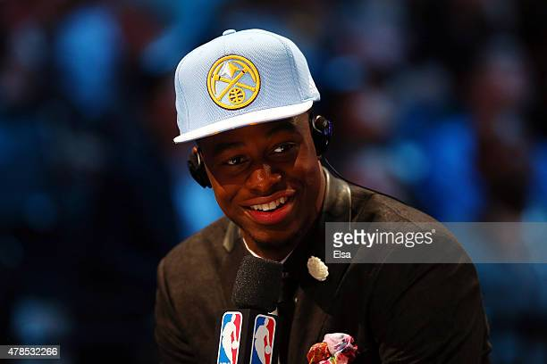 Emmanuel Mudiay speaks to the media after being selected seventh overall by the Denver Nuggets in the First Round of the 2015 NBA Draft at the...