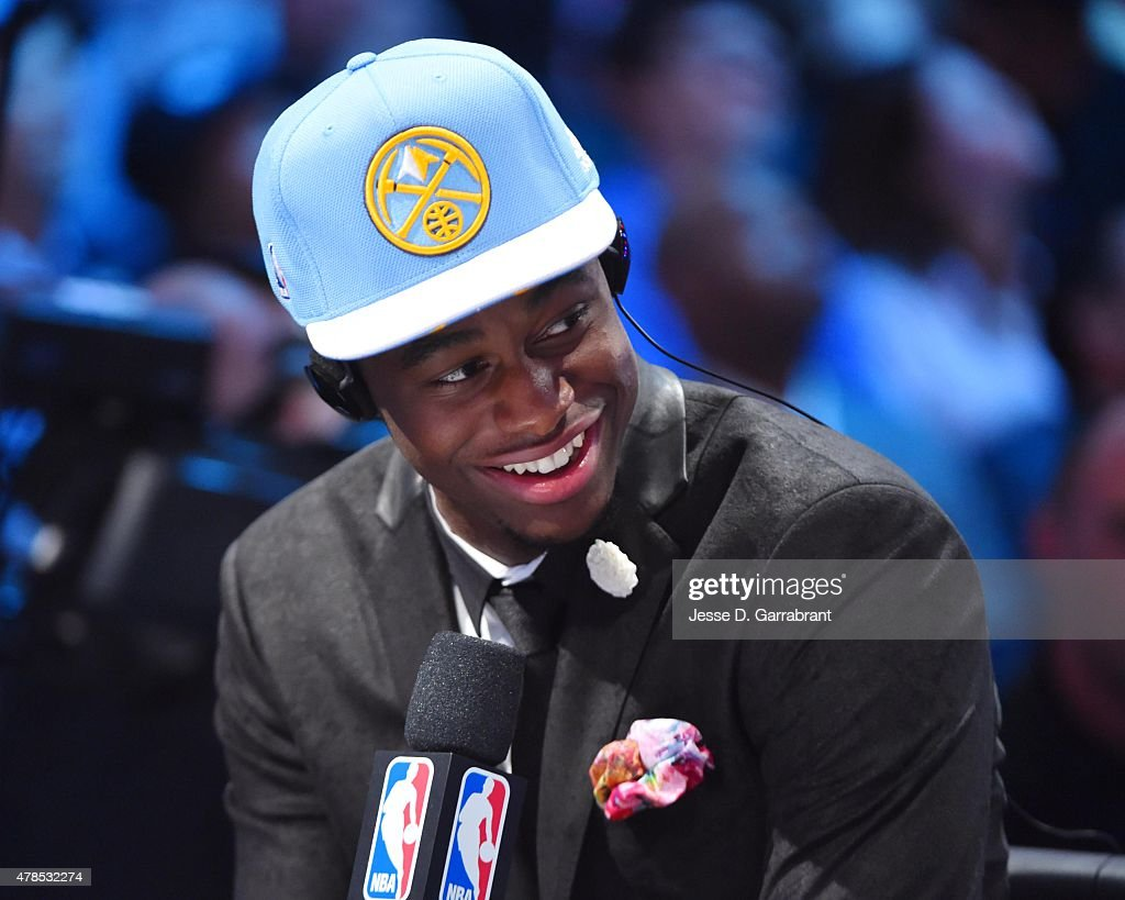 Emmanuel Mudiay the 7th pick overall in the 2015 NBA Draft by the Denver Nuggets poses for speaks to the media during the 2015 NBA Draft at the Barclays Center on June 25, 2015 in the Brooklyn borough of New York City.