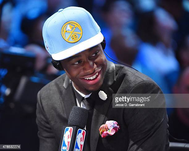 Emmanuel Mudiay the 7th pick overall in the 2015 NBA Draft by the Denver Nuggets poses for speaks to the media during the 2015 NBA Draft at the...
