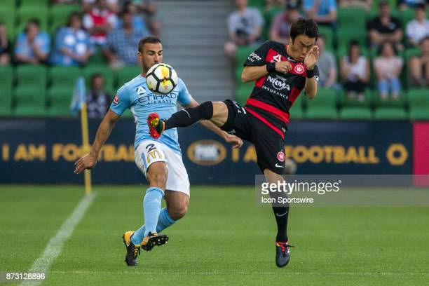 Emmanuel Muscat of Melbourne City and Jumpei Kusukami of the Western Sydney Wanderers contest the ball during Round 6 of the Hyundai ALeague Series...