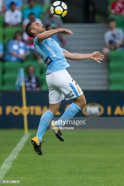 Emmanuel Muscat of Melbourne City controls the ball during Round 6 of the Hyundai ALeague Series between Melbourne City and the Western Sydney...