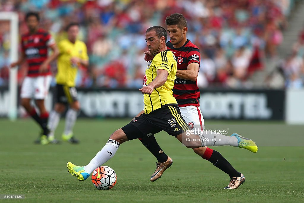 Emmanuel Muscat of the Phoenix kicks during the round 19 A-League match between the Western Sydney Wanderers and the Wellington Phoenix at Pirtek Stadium on February 14, 2016 in Sydney, Australia.