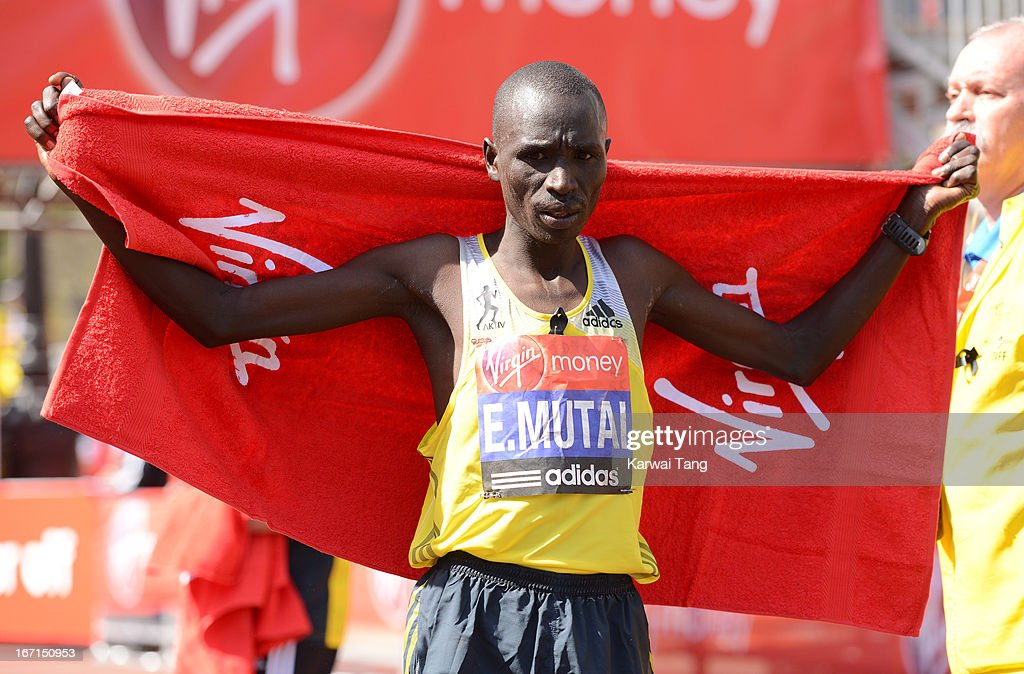 Emmanuel Mutai takes part in the Virgin London Marathon on April 21, 2013 in London, England.