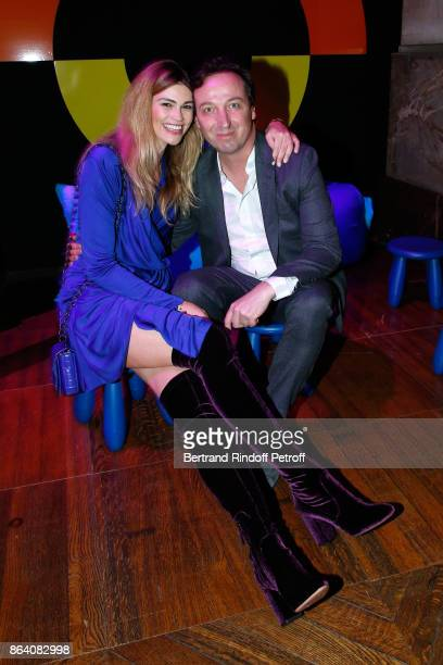 Emmanuel Perrotin and his wife Lorena Vergani attend the 'Bal Jaune Elastique 2017' Dinner Party at Palais Brongniart during FIAC on October 20 2017...