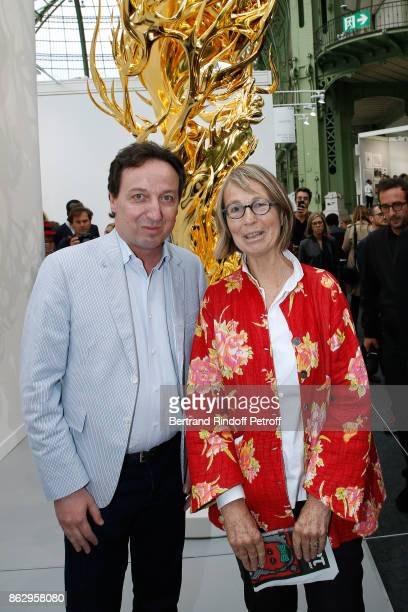 Emmanuel Perrotin and Minister of Culture Francoise Nyssen attend the FIAC 2017 International Contemporary Art Fair Press Preview at Le Grand Palais...