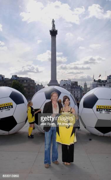 Emmanuel Petit Setanta's star analyst and star of Setanta's latest TV ad campaign Thaila Zucci launch their debut Barclays Premier League season...