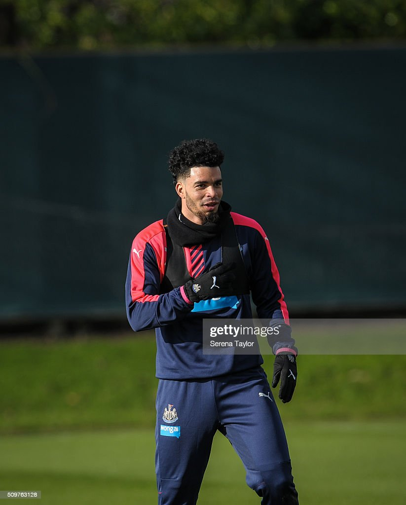 <a gi-track='captionPersonalityLinkClicked' href=/galleries/search?phrase=Emmanuel+Riviere&family=editorial&specificpeople=5652272 ng-click='$event.stopPropagation()'>Emmanuel Riviere</a> looks on during the Newcastle United Training session at The Newcastle United Training Centre on February 12, 2016, in Newcastle upon Tyne, England.