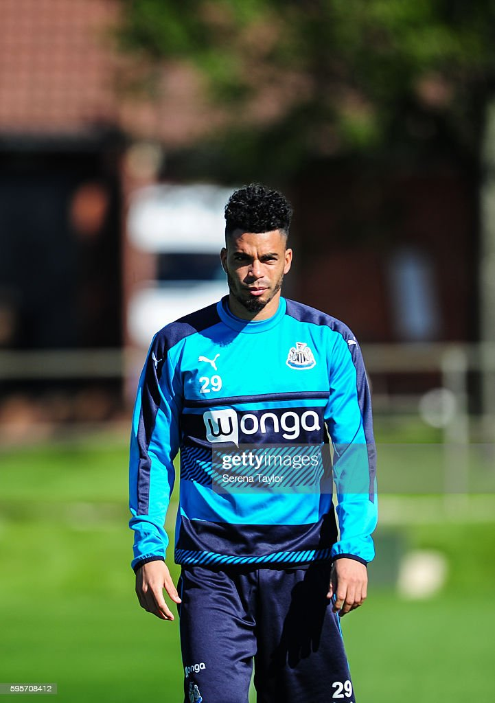 Emmanuel Riviere walks outside during the Newcastle United Training Session at The Newcastle United Training Centre on August 26 in Bristol England