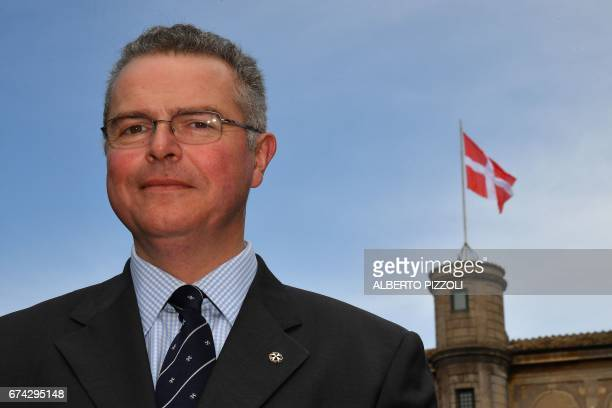 Emmanuel Rousseau aka Fra'Emmanuel member of the Knight's Sovereign Council of the military and hospitaller Order of Malta poses on April 27 2017 at...