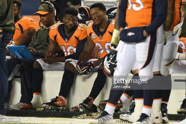 Emmanuel Sanders and Demaryius Thomas of the Denver Broncos on the sidelines in the fourth quarter against the New England Patriots The Denver...