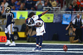 Emmanuel Sanders of the Denver Broncos celebrates after scoring on a 42yard touchdown pass against the St Louis Rams in the second quarter t the...