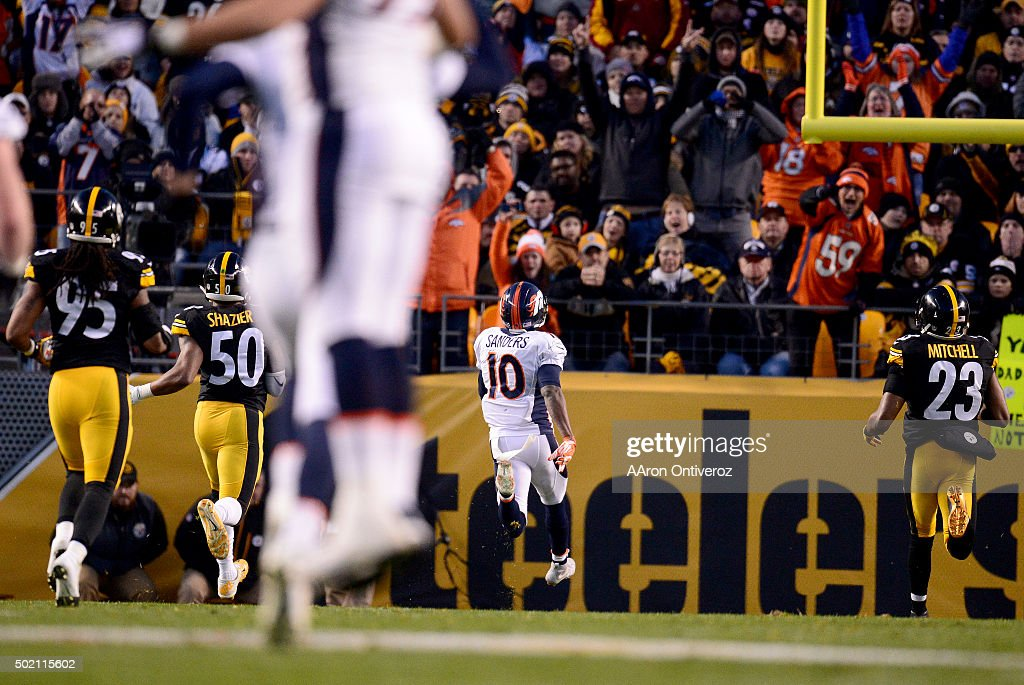 Emmanuel Sanders (10) of the Denver Broncos makes a long touchdown reception against the Pittsburgh Steelers during the first half of play at Heinz Field. The Pittsburgh Steelers hosted the Denver Broncos on Sunday, December 20, 2015.