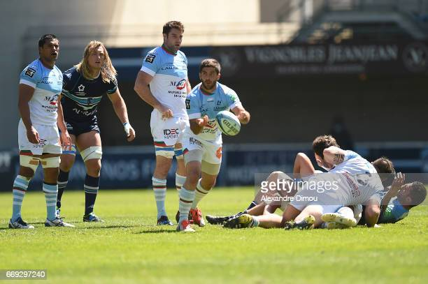 Emmanuel Saubusse of Bayonne during the Top 14 match between Montpellier and Bayonne on April 16 2017 in Montpellier France