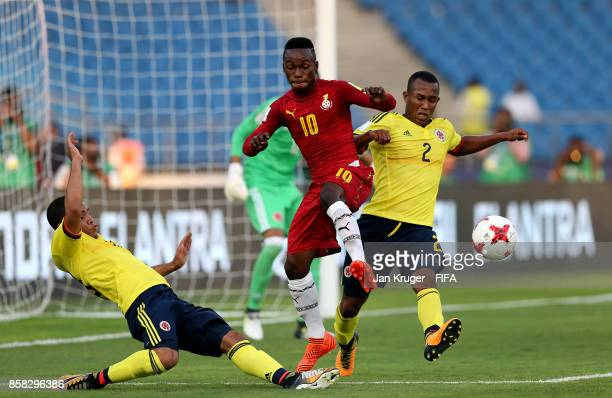 Emmanuel Toku of Ghana battles with Andres Cifuentes of Columbia during the FIFA U17 World Cup India 2017 group A match between Colombia and Ghana at...