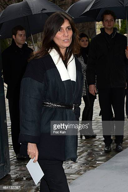 Emmanuelle Alt attends the Christian Dior show as part of Paris Fashion Week Haute Couture Spring/Summer 2014 at Musee Rodin on January 20 2014 in...