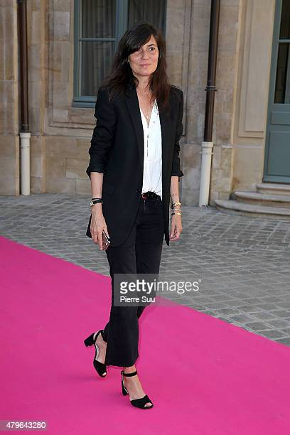 Emmanuelle Alt attends the Schiaparelli show as part of Paris Fashion Week Haute Couture Fall/Winter 2015/2016 on July 6 2015 in Paris France