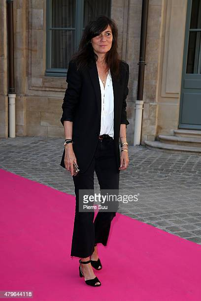 Emmanuelle Alt attends the Schiaparelli show as part of Paris Fashion Week Haute Couture Fall/Winter 2015/2016 on July 6 2015 in Paris France