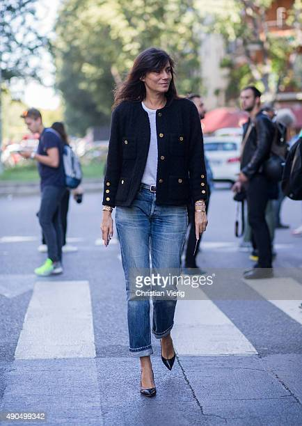 Emmanuelle Alt during Milan Fashion Week Spring/Summer 16 on September 25 2015 in Milan Italy