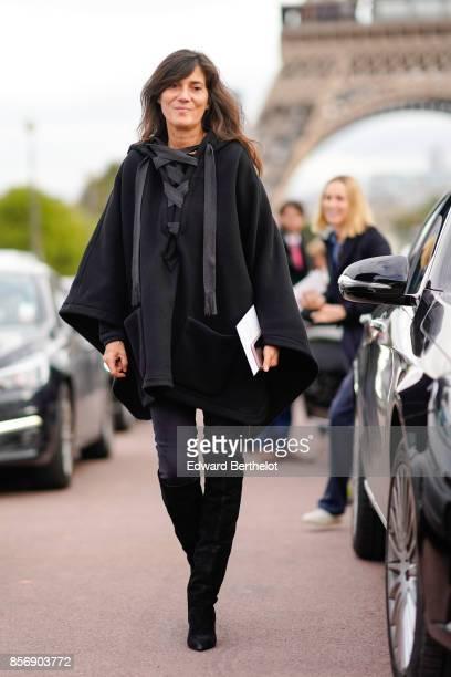 Emmanuelle Alt outside Hermes during Paris Fashion Week Womenswear Spring/Summer 2018 on October 2 2017 in Paris France