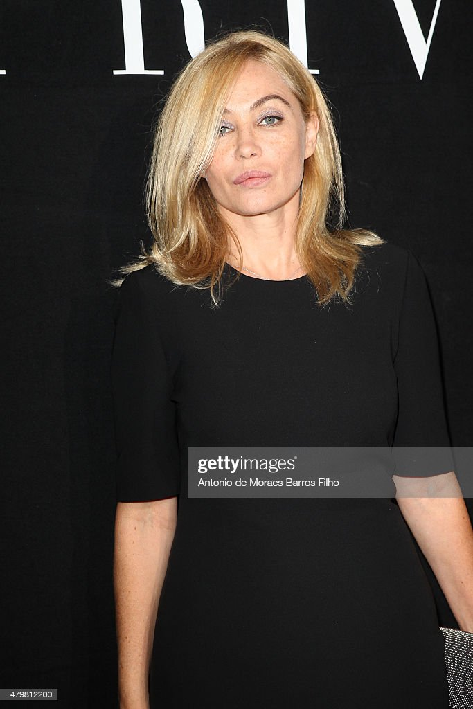Emmanuelle Beart attends the Giorgio Armani Prive show as part of Paris Fashion Week Haute Couture Fall/Winter 2015/2016 on July 7, 2015 in Paris, France.