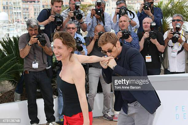 Emmanuelle Bercot and Benoit Magimel attend the 'La Tete Haute' photocall during the 68th annual Cannes Film Festival on May 13 2015 in Cannes France